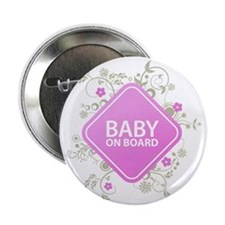 """Baby on Board - Girl 2.25"""" Button"""