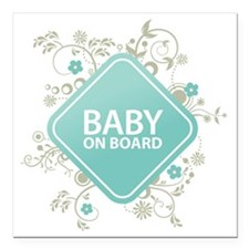 """Baby on Board - Boy Square Car Magnet 3"""" x 3"""""""