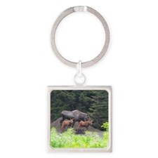 Tote7x7_Moose_2 Square Keychain