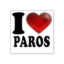 "I Heart Paros Square Sticker 3"" x 3"""