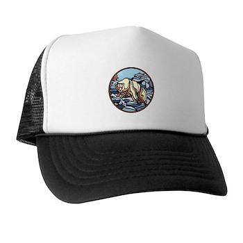 Polar Bear Art Trucker Hat Wildlife Painting