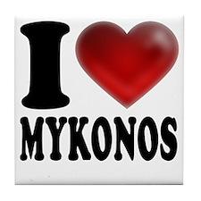 I Heat Mykonos Tile Coaster