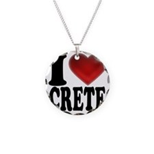 I Heart Crete Necklace Circle Charm