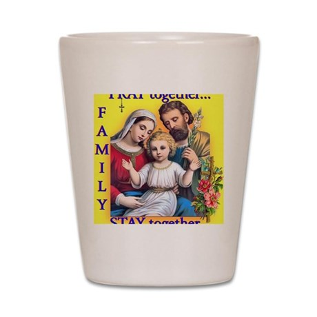 Family Prays - Yellow Background Shot Glass