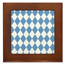 Carolina Blue Argyle Sock Pattern Nort Framed Tile
