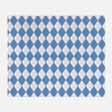 Carolina Blue Argyle Sock Pattern Throw Blanket