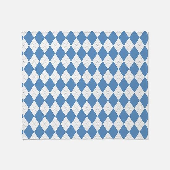 Carolina Blue Argyle Sock Pattern Throw Blanket