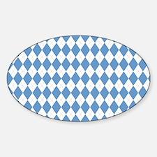 Carolina Blue Argyle Sock Pattern Sticker (Oval)