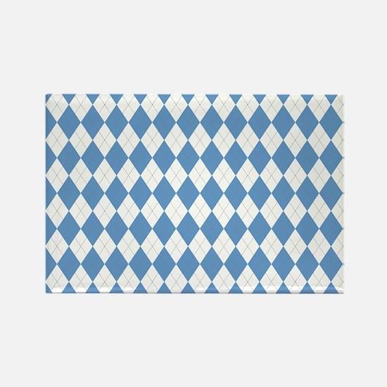 Carolina Blue Argyle Sock Pattern Rectangle Magnet