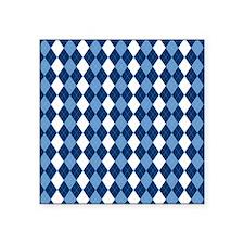 "Carolina Blue Argyle Sock P Square Sticker 3"" x 3"""
