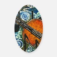 Fiddle Batik Oval Car Magnet