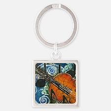 Fiddle Batik Square Keychain