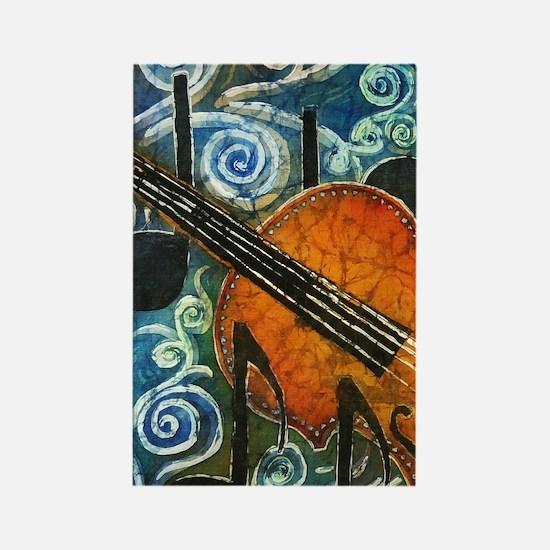Fiddle Batik Rectangle Magnet
