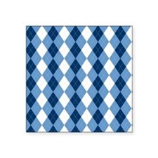 "Carolina Blue Argyle Sock P Square Sticker 3"" x 3"""
