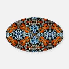Fiddle Batik Repeat Oval Car Magnet