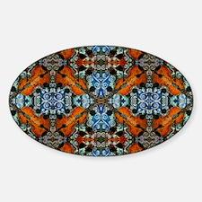 Fiddle Batik Repeat Sticker (Oval)