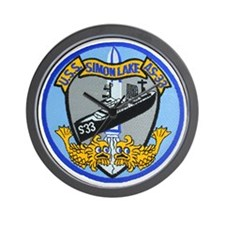uss simon lake patch transparent Wall Clock