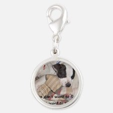 Snuggler not a fighter Silver Round Charm