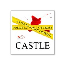 "Castle: A Line Has Been Cro Square Sticker 3"" x 3"""
