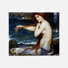 John William Waterhouse Mermaid. Throw Blanket