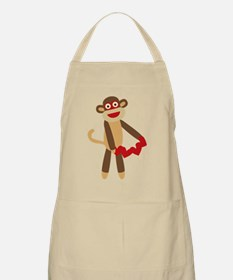 Sock Monkey with Hearts Apron