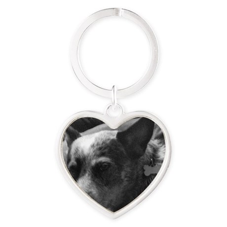 Heeler in Black and White Heart Keychain