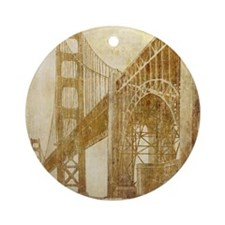Vintage Golden Gate Bridge Round Ornament