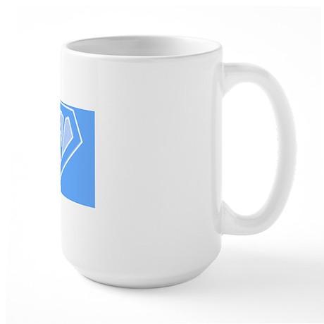 super pillowcase blue w Large Mug