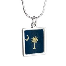 Grunge South Carolina Flag Silver Square Necklace