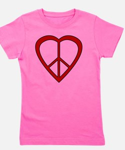 Red Heart Peace Sign Girl's Tee