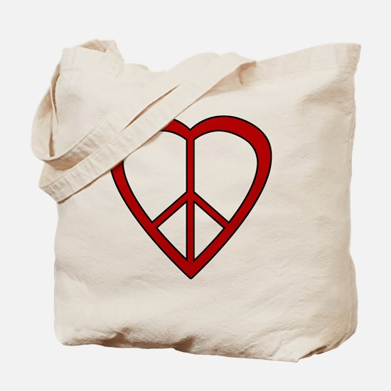 Red Heart Peace Sign Tote Bag