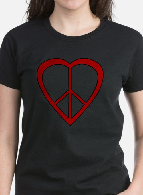 Red Heart Peace Sign Tee