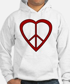 Red Heart Peace Sign Hoodie