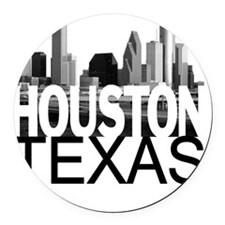 Houston Skyline Round Car Magnet