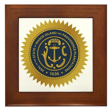 Rhode Island Seal Framed Tile