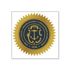 "Rhode Island Seal Square Sticker 3"" x 3"""