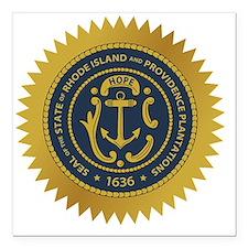 "Rhode Island Seal Square Car Magnet 3"" x 3"""