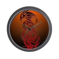 dragon vs phoenix Wall Clock