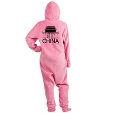 Beijing Skyline Footed Pajamas