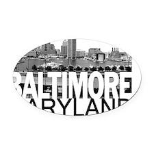 Baltimore Skyline Oval Car Magnet
