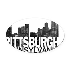 Pittsburgh Skyline Oval Car Magnet
