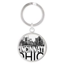 Cincinnati Skyline Round Keychain