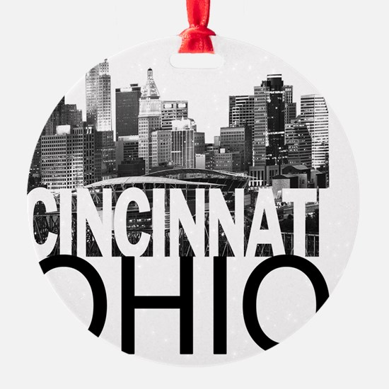 Cincinnati Skyline Round Ornament