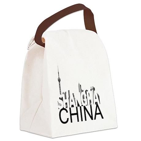 Shanghai Skyline Canvas Lunch Bag