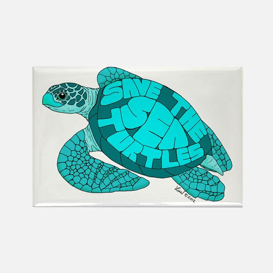 Teal Turtle Rectangle Magnet