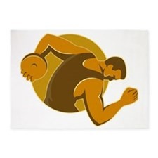 discus thrower throwing side retro  5'x7'Area Rug