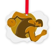 discus thrower throwing side retr Ornament