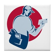 mailman postman deliver mail envelope Tile Coaster