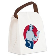 mailman postman deliver mail enve Canvas Lunch Bag