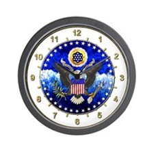 U.S. Seal Wall Clock whilte